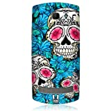 Head Case Blue Florid Of Skulls Design Glossy Back Case Cover For Nokia Asha 303