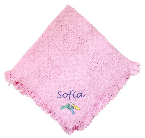Baby Keys Pink 100% Cotton Custom Embroidered Personalized Baby Blanket Green Thread front-964877