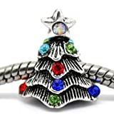 """ Christmas Tree W/colored Stones "" Silver Charm Bead Pandora Troll Chamilia Compatible"