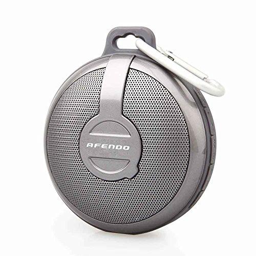 AFENDO   Bluetooth ワイヤレススピーカー コンパクトなサイズ iPhnoe6、6plus/ iPhone5、5s、5c/iPhnoe4、4s/Android/各種スマホ/ iPod / iPad などのタブレットに対応   つり掛けフック付き 18ヶ月保証期間 (防水BV210, GRAY)