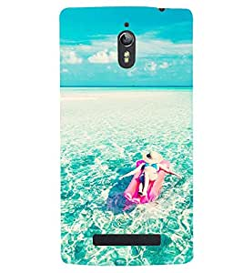Printvisa Girl Relaxing With The Oceanic Waves Back Case Cover for Oppo Find 7