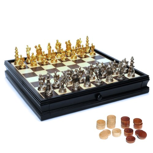 WE Games Medieval Chess & Checkers Game Set - Pewter Chessmen & Black Stained Wood Board with Storage Drawers 15 in.