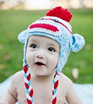 Handmade Crochet Baby red and blue sock monkey Hat 3-12 months