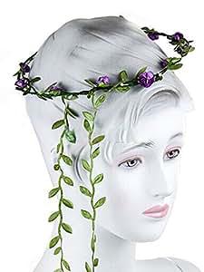 Hair Head Band Beach Seaside Flowers Headband (Purple) : Beauty