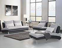 Hot Sale Homelegance Renton 3 Piece Upholstered Living Room Set In Black & Grey