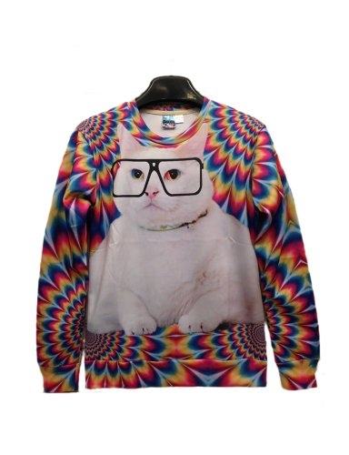 Pink Queen Pullover 3d Design Glasses Cat Print White Sweatshirt Sweater Hoodies