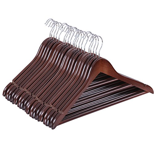SONGMICS 20 Pack Solid Wood Suit Coat Hangers Non-slip Design with Hanging Bar for Coat Suit Jacket Shirt Pants Brown UCRW05K-20