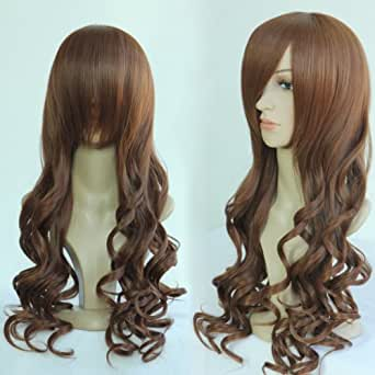 New Fashion Long Wavy Heat Resistant Spiral Curly Cosplay Wig Colorful (80cm, Dark brown)