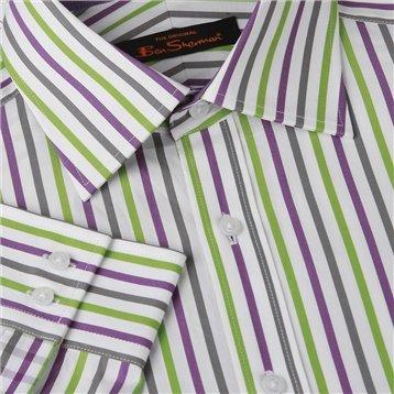 Ben Sherman Stripe Shirt White, 18.5