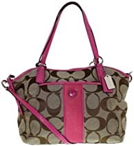 Coach 21899 Signature Stripe Pocket Tote Khaki and Mulberry Handbag