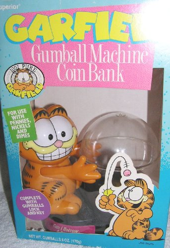 Vintage Garfield the Cat Gumball Machine Coin Bank - 1