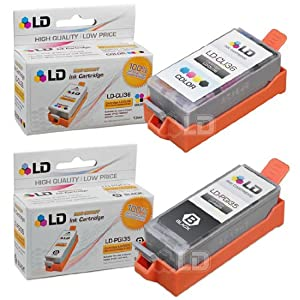 LD © Compatible Canon PGI35 and CLI36 Set of 2 Ink Cartridges: Includes 1 Black and 1 Color Cartridge for the PIXMA iP100