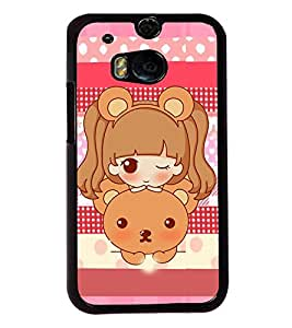 PRINTVISA A Baby With Teddy Premium Metallic Insert Back Case Cover for HTC One M8 - D5915