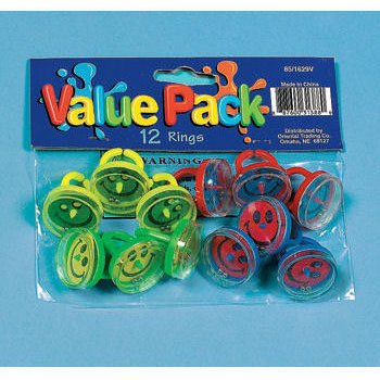 Smiley Face Pill Puzzle Ring Value Pack-12 pieces