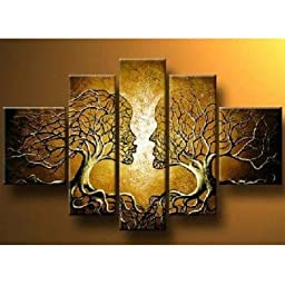 Cherish Art 100% Hand Painted Oil Paintings Yellow Tree Lovers Kissing 5 Panels Wood Framed Inside For Living Room Art Work Home Decoration