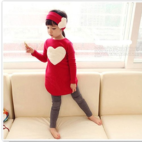 Nizimei Girls Clothing Sets 3 Pcs /Set(Headband + Shirt + Pants) 3-7 T (7T, Red)