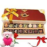 Valentine Chocholik Belgium Chocolates - Mixture Choco Treats With Teddy And Rose
