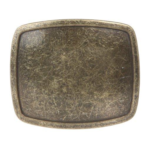 Western Plain Rectangular Hammered Vintage Belt Buckle Color: Antic Gold