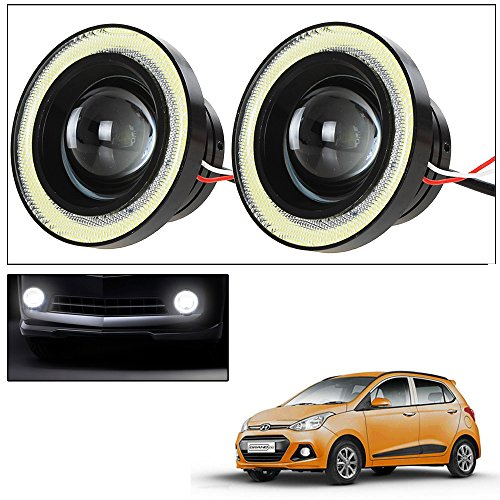 Vheelocityin 2Pc 3.5Inch Car Fog Lamp Angel Eye DRL Led Light For Hyundai Grand I10