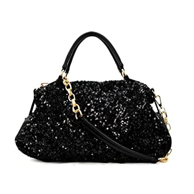 Large Black Sequin Shoulder Bag 118