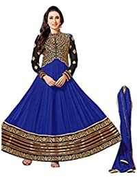Surat Tex Blue Colored Georgette Embroidered Casual Wear Semi-Stitched Anarkali Suit-J616DL105