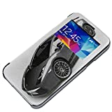 Cars 10055, Sexy Car, Black PU Leather Flip Smart S-View Back Clip Case Cover Wallet Pouch with Window and Colourful Design for Samsung Galaxy S5 Mini SM-G800F.