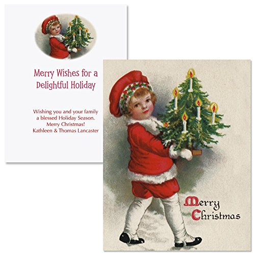 Victorian Christmas Note Card Size Personalized Christmas Cards (Set of 20)