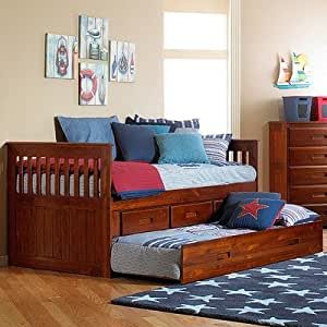 Merlot Twin Rake Bed Configuration: 3 Drawers + 1 Trundle Unit