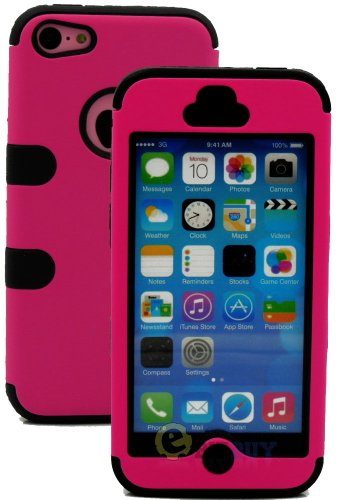 Mylife (Tm) Black + Hot Pink Flat Color Style 3 Layer (Hybrid Flex Gel) Grip Case For New Apple Iphone 5C Touch Phone (External 2 Piece Full Body Defender Armor Rubberized Shell + Internal Gel Fit Silicone Flex Protector + Lifetime Waranty + Sealed Inside