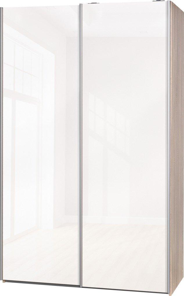 Schwebetürenschrank Soft Plus Smart Typ 42″, 120 x 194 x 61cm, Eiche/2 x Weiß hochglanz