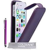 Yousave Accessories Pack d'Etui à clapet en PU cuir Violet + Stylet pour iPhone 4/4S