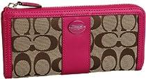 Hot Sale Coach Legacy Signature Logo Slim Zip Wallet Khaki Fuchsia Pink New