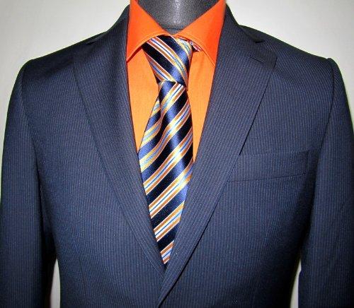 MUGA mens Suit noble, Slim-fit, Marine/Darkblue, Size 34R (EU 44)