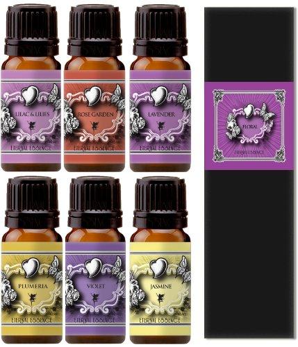 Premium Grade Fragrance Oil - Floral Gift Set - 6 Pack Of Essence - Lavender, Lilac Lillies, Jasmine, Plumeria, Rose Garden , Violet - 10 Ml - Scented Oil