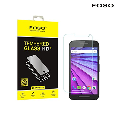 FOSO(TM) for Motorola [ 3rd Generation Moto G3 ] / [ Moto G Turbo ] Round Curved 2.5D Edge 9H Hardness Toughened Tempered Glass Screen Guard Protector (2015 Model / Dual SIM Version)