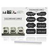 Thunder® 48 Packs Chalkboard Labels Premium Waterproof Stickers and White Color Liquid Chalk Pen for Jars, Boxes, or Personalizing Anything