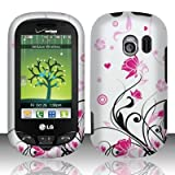 LG Extravert(Verizon) vn271 Accessory - Black vines & Pink Lotus Flower Design Case Protective Cover