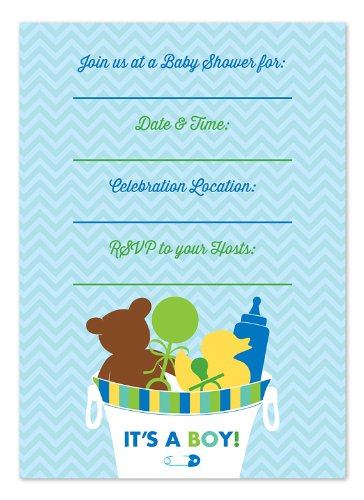 It'S A Boy Bucket Shower Fill-In Invitations back-113441