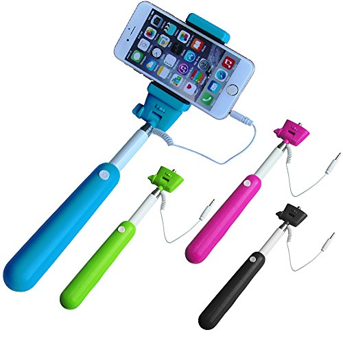 VersionTech Black 3.5mm Wired Remote Selfie Stick Monopod Telescopic Extendable Handheld Pole Holder For iPhone 6 iPhone 6 Plus iPhone 5S 5C 5 4S 3GS Samsung Galaxy Note 4 3 2 1 Galaxy S5 S4 S3 S2 Son