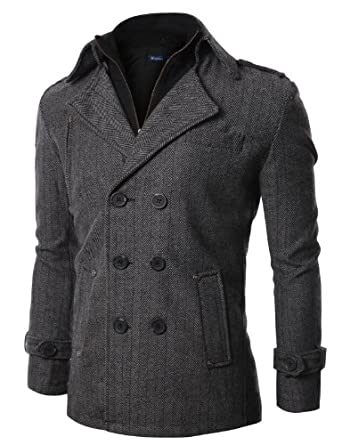 Doublju Mens Wool Herringbone Coat BLACK (US-M)