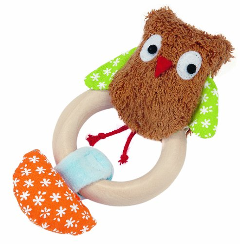 51eaVktgGgL Buy  Kathe Kruse 5 Wooden Ring Rattle Plush Toy, Owl Alba