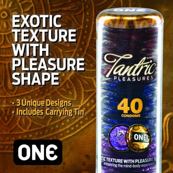 One® Tantric Pleasures 40 Exotic Condoms with Pocket Travel Container