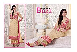 New Arrival Beige Georgette Embroidery Work Salwar Suit Dress Material By Fashion Empire