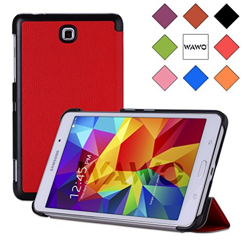 Wawo Creative Tri-Fold Cover Case For Samsung Galaxy Tab 4 7.0 Inch Tablet - Red front-996096