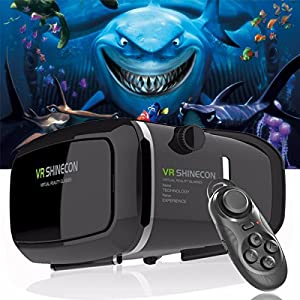 """ZiKON 3D VR Headset Glasses Virtual Reality Mobile Phone 3D Movies for iPhone 6s/6 plus/6/5s/5c/5 Samsung Galaxy s5/s6/note4/note5 and Other 4.7""""-6.0"""" Cellphones + Remote Controller"""