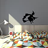 Cool quality Flying Witch on a broom stick Happy Halloween sticker decoration - for almost all surfaces - easy to apply wall vinyl sticker fun and cool for home improvement and decorations makes a great birthday present