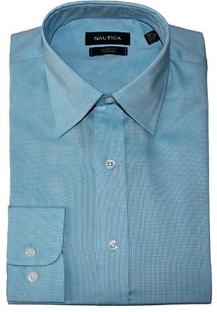"Nautica True Travelwear Pinpoint Dress Shirt (15.5"" Neck 32/33, Pale Aqua)"