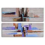 TJie Art Hand Painted Mordern Oil Paintings Urbanization Abstraction 2-Piece Canvas Wall Art Set Abstract modern painting on 2-piece canvas,Entirely hand-painted by acrylic paints on canvas,Comes gallery stretched on wooden frames for hanging