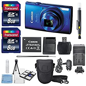 Canon Powershot ELPH 170 IS 20.0MP (Blue) With USA Warranty + Total of 16 GB SDHC Class 10 Memory Card & AC/DC Turbo Travel Charger + Mini Tripod Along With a Deluxe Cleaning Kit