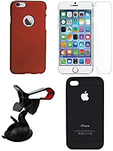 NIROSHA Tempered Glass Screen Guard Cover Case Mobile Holder for Apple iPhone 6Plus - Combo
